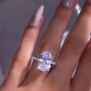 NEW OVAL CUT DIAMOND 925 STERLING SILVER RING